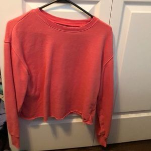 american eagle cropped pink sweater